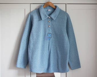 Sweatshirt Vintage Sky Blue Retro Top Oldschool 1980s fashion Women Clothing Melange material Collar Silver Buttons Top / Extra Large size