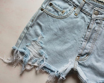 Denim Shorts High Waisted Jeans Vintage Destroyed Ripped Cut Off Light Blue Summer Festival Clothing Women Girls W27 / Small Size
