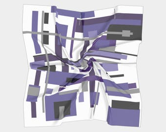 "Satin Charmeuse Square Scarf, Lavender, 26"" by 26''"