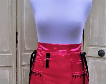 Handmade Womens Intimate Pink Satin Lingerie Tool Utility Belt Apron