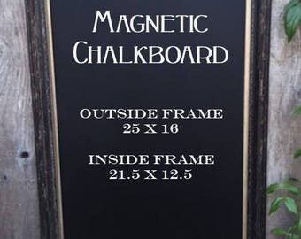Large Black Framed Magnetic Chalkboard.. Office Chalkboard.. Chalkboard..  Magnetic Chalkboard