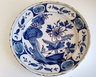 Delft Blue And White Charger With Flowers  18th Century