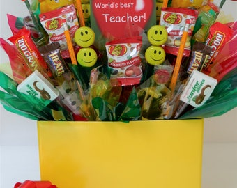 Teacher Thank You Appreciation Gift Basket Candy Bouquet