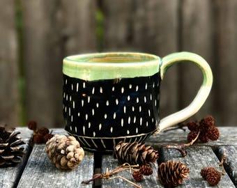 Black and Green Textured Mug