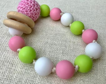 Pink and Green Baby Teething Rattle Organic Wood
