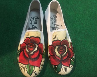 Rose Painted Shoes, Rose Shoes, Custom painted Shoes, Slip-One Painted