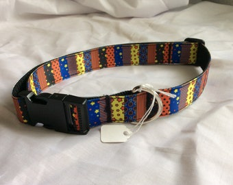 Large dog collar  adjustable novelty funky mixed colours design