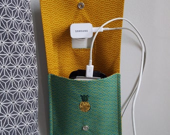 Handmade fabric phone charger pouch-
