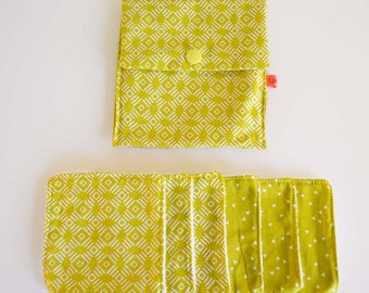 """Wipes cleansing washable organic tencel micro-eponge """"graphic patterns green/yellow"""" + pouch"""