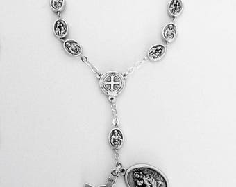 Scapular medal car rosary.godparents gift.protection on The  Highway.auto rosary.pocket rosary.catholic.gift.