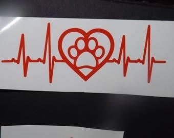 Heartbeat Pet Love Vinyl Decal