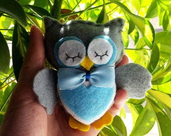 Owl figurine Owl ornament Girlfriend gift Owl baby shower Navy kids room decor Stuffed animals Cute wife gift Valentines gift