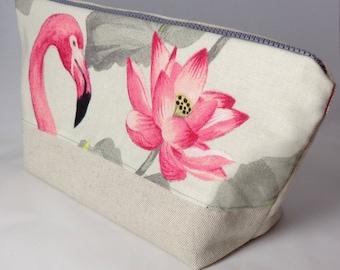 Pink Flamingo cotton toiletry bag