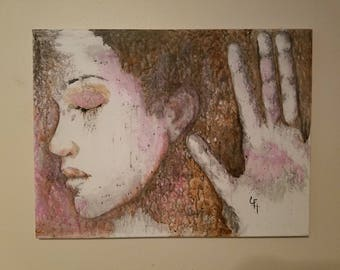 Woman holding her hand up to the glass- canvas painting