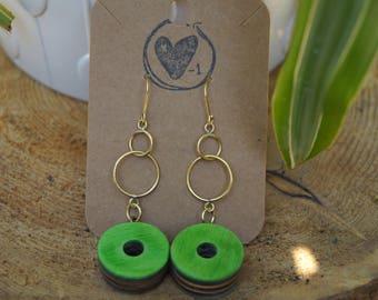 Recycled skateboard earrings