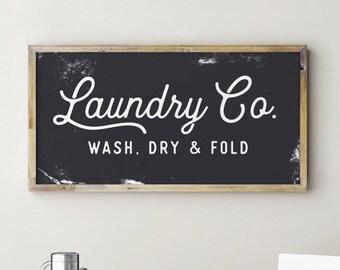 Laundry Co Sign, Laundry Room Decor, Fixerupper Signs, Fixerupper Decor, Magnolia Sign, Farmhouse Decor, Laundry Co Sign White, Laundry Sign