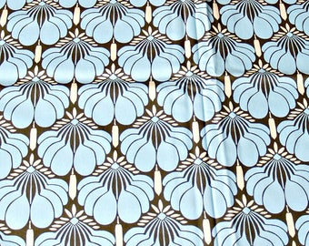 Nigella by Amy Butler for Rowan Blue and Brown Lotus Flower Cotton Fabric Crafters Sewing