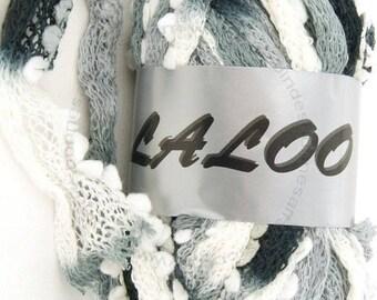 WOOL RUFFLES WITH TASSEL LALOO9 100 GR BLACK / GREY / WHITE 21
