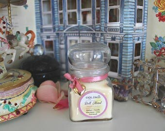 DOLL METAL •  soy wax candle • sugar • amber • vanilla • marzipan • lilac • patchouli • sweet scent • natural • doll magick • witchcraft