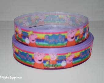 "Peppa Pig 1"" Grosgrain Ribbon 443 By the Yard"