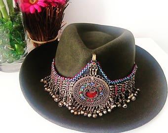 Boho Hat, Tribal Hat, Vintage Hat, Hippie Hat