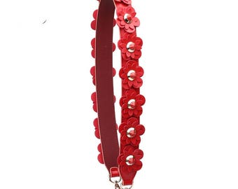 Real leather Stud Bag Strap Colorful Leather flower Strap Removable Strap for Bag and Purses Interchangeable Strap
