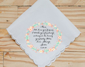 Wedding Handkerchief, I'll love you forever, I'll like you for always,Your baby I'll be, Coral and Mint, Printed Handkerchief - 83