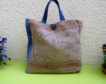 """Burlap and recycled jeans """"Bag with polka dots"""" Tote"""