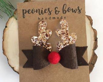 Rudolph bow | reindeer bow | christmas bow headband | holiday bows | toddler | baby headband | clip | girl | felt bow |
