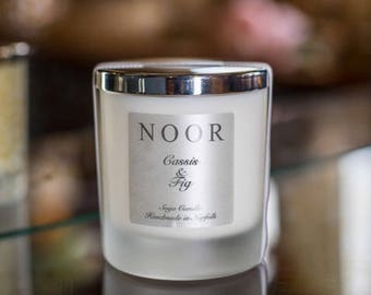 Cassis and Fig luxury Soy candle 30cl silver lid,home decor handmade in Norfolk vegan friendly cabdles perfect gift,