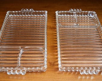 Two Flutted Glass Serving Trays, Glass Trays, Serving Trays, Table Setting