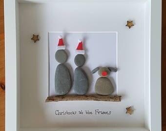 Personalised Christmas Pebble Art Frame - Santa hats!!