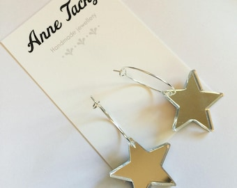 SILVER STAR hoop dangle earrings laser cut mirror acrylic dangle earrings  tacky festival wear kitsch retro style