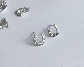 Sterling Silver Cubic Zirconia Horse Shoe Stud Earrings