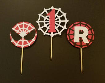 Spiderman cupcake toppers - Set of 12