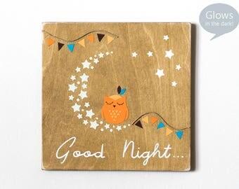 Owl Wooden Sign Decor, Goodnight Sign, Goodnight moon, Handmade Nursery Wall Art, Baby Boy Room Decor, Sleeping Owl Nursery, Orange Blue Art