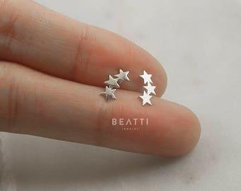 Tiny Triple Star Earring, Cartilage Earring, 19 gauge, 925 Sterling Silver, Tragus earring, Tragus stud, tiny star, ball screw earring