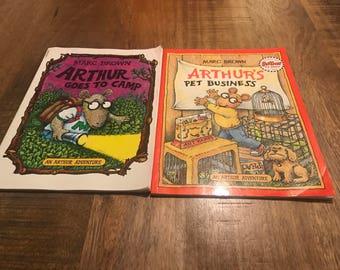 "Set of 2 Arthur Books ""Arthur Goes To Camp"" & "" Arthur's Pet Business"""