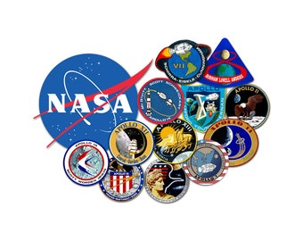 T-SHIRT: Nasa Apollo Flight Patches - Classic T-Shirt & Ladies Fitted Tee - (LazyCarrot)