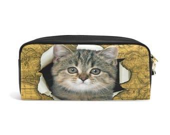 Cat Pencil Pouch, Cat Zipper Pouch, Cat Pencil Case, Back to School, Cat Print Bag, Cat Boy Girl Gift