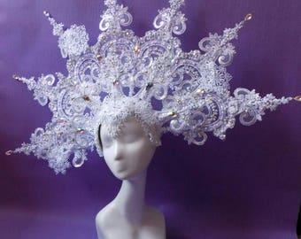 "Headdress ""White Snow Lase Kokoshnik"""