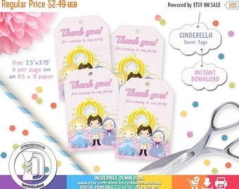 ON SALE Cinderella Favor Tags, Disney Princess Favor Tags, Cinderella 2015, Party Circles, Birthday Party Decorations, INSTANT Download