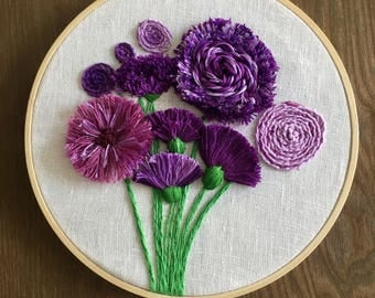 Hand Embroidered - Purple Flowers