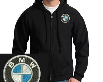 Bmw Logo Emboidered Hoodie Black Full-Zip Hooded Sweatshirt New