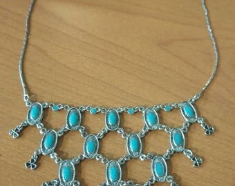 Silver and turquoise bib necklace