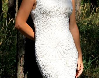 Crochet dress white Wedding lace dress Bachelor white Summer Bohemian wedding dress Occasion white Prom Wedding dress white Party dress
