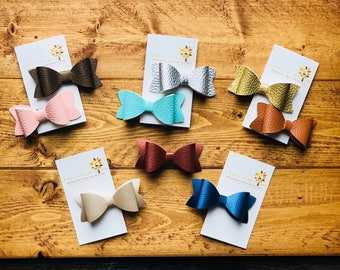 Faux Leather Hair Clips Barrettes Bows