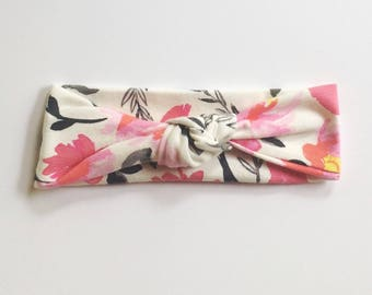 Watercolor Floral Top Knot Headband/ knotted headband/baby headband/newborn headband/toddler headband/kids headband/adult headband