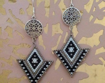 Beads Miyuki 11 peyote stitch silver hook earrings