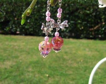 Pink glass beads earrings, painted pattern